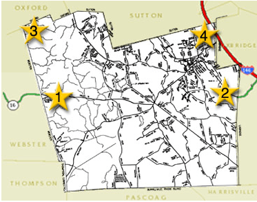 Image of map of Douglas, with four featured area highlighted